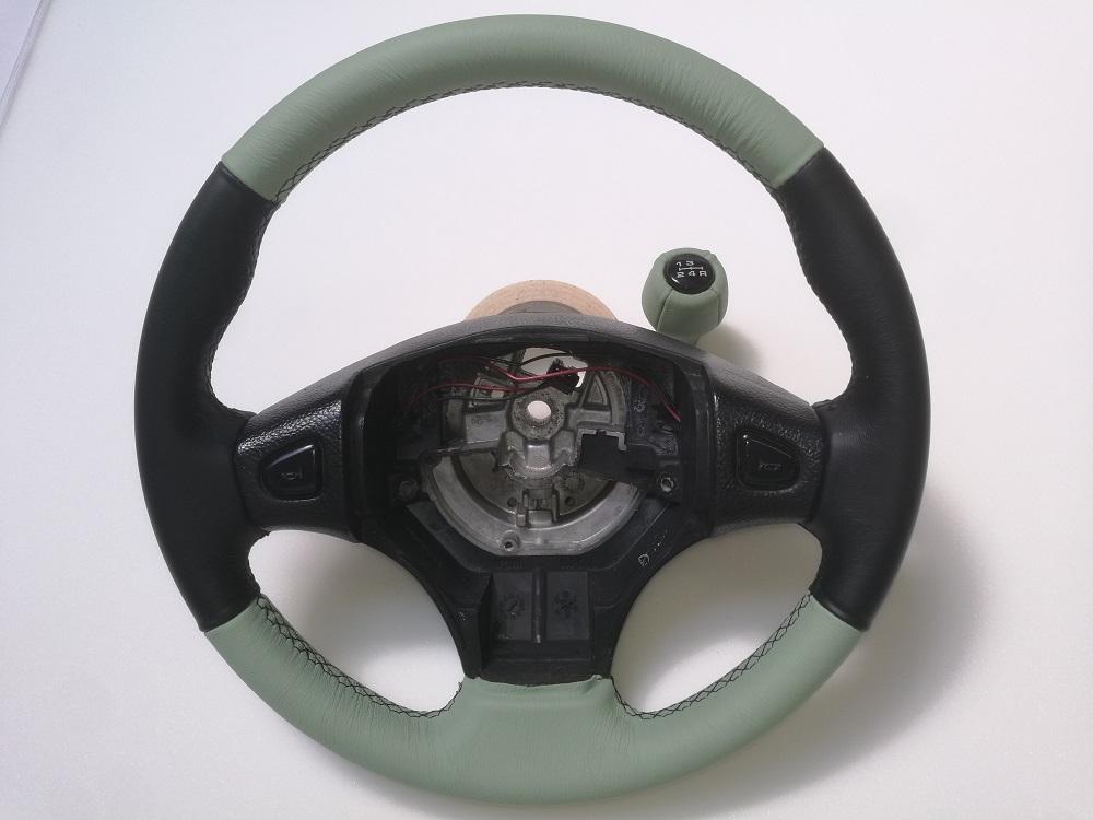 Rénovation volant et pommeau cuir Austin Mini