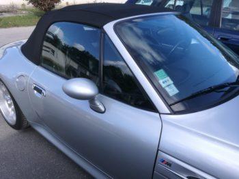 Remplacement d'une capote en alpaga et ciel de toit pour ce BMW Z3 M RC Sellerie