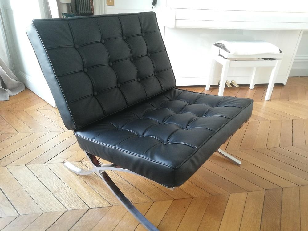 Réalisation d'un siège en cuir capitonné Knoll par RC Sellerie