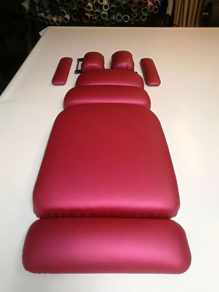 Remplacement et gainage éléments d'une table de chiropracteur