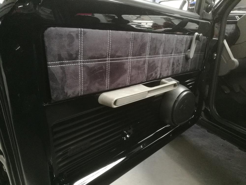 Panneaux de portes Fiat Panda gainés en alcantara