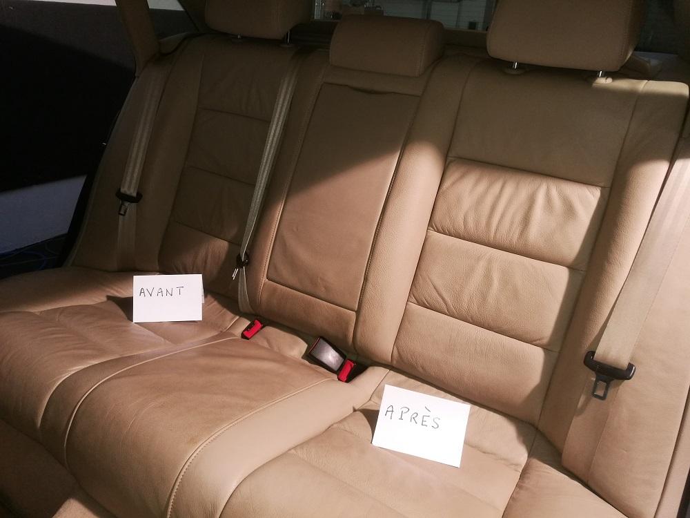 Audi A4 : Nettoyage du cuir (à gauche non nettoyé-à droite nettoyé) RC Sellerie