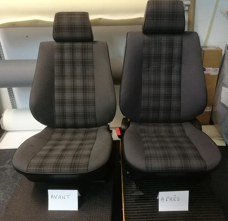 BMW E30 318 IS : Renouvellement des coiffes en tissu écossais d'origine - Situation avant/après